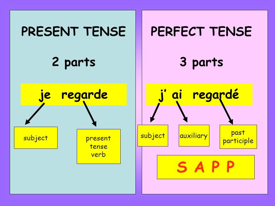 PRESENT TENSE 2 parts je regarde subject present tense verb PERFECT TENSE 3 parts j ai regardé subjectauxiliary past participle S A P P