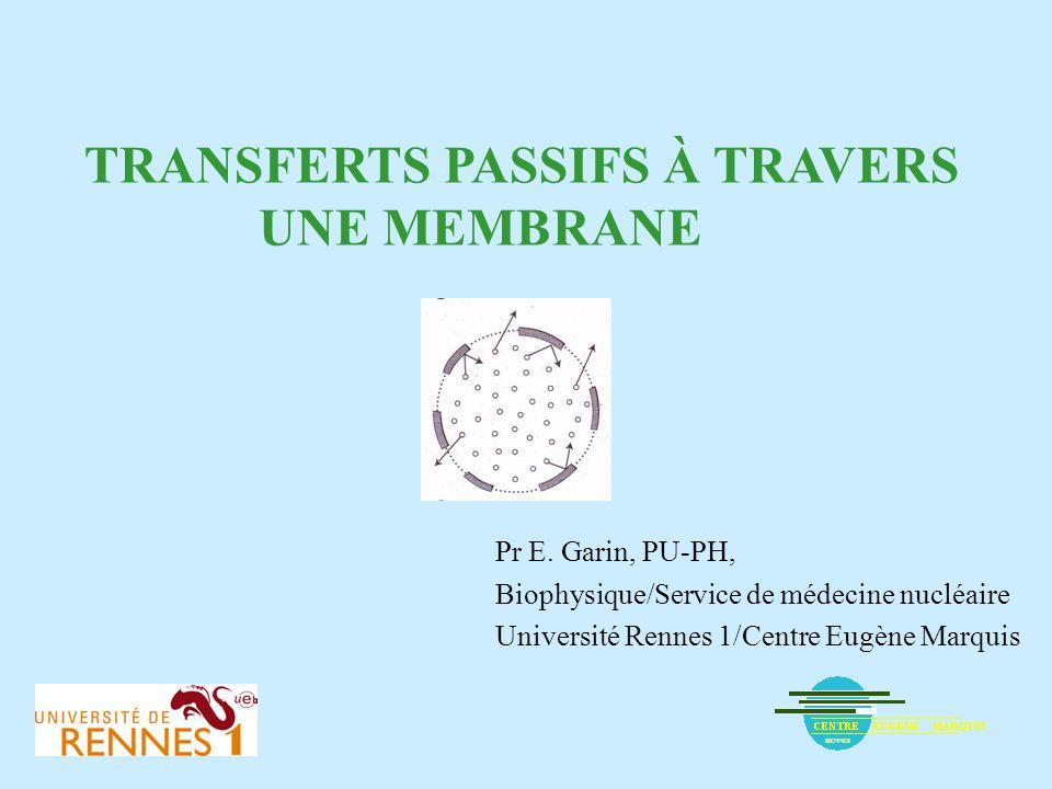 TRANSFERTS PASSIFS À TRAVERS UNE MEMBRANE Pr E. Garin, PU-PH, Biophysique/Service de médecine nucléaire Université Rennes 1/Centre Eugène Marquis