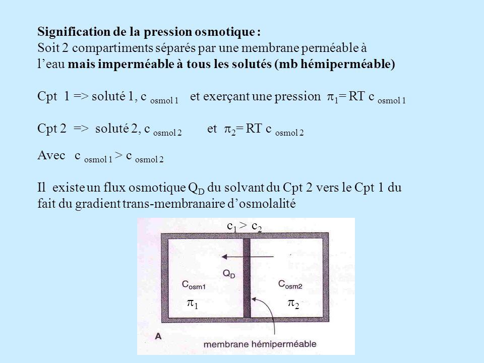 Signification de la pression osmotique : Soit 2 compartiments séparés par une membrane perméable à leau mais imperméable à tous les solutés (mb hémipe