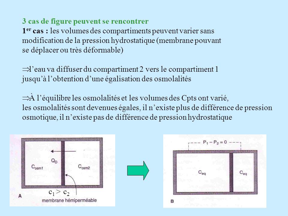 3 cas de figure peuvent se rencontrer 1 er cas : les volumes des compartiments peuvent varier sans modification de la pression hydrostatique (membrane