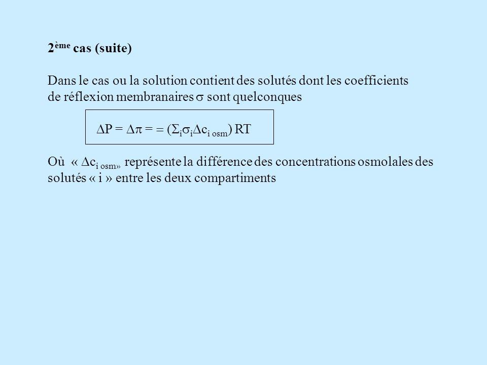 2 ème cas (suite) Dans le cas ou la solution contient des solutés dont les coefficients de réflexion membranaires sont quelconques P = = i i c i osm )