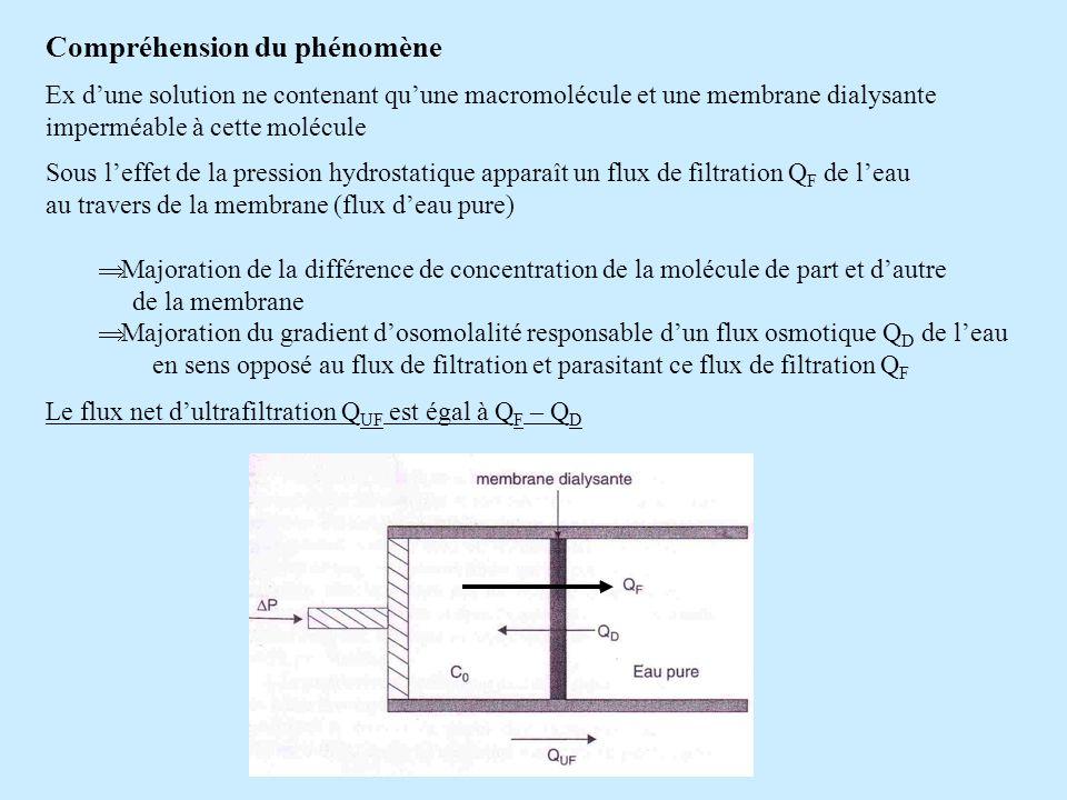 Compréhension du phénomène Ex dune solution ne contenant quune macromolécule et une membrane dialysante imperméable à cette molécule Sous leffet de la
