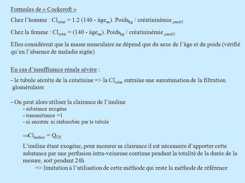 Formules de « Cockcroft » Chez lhomme : Cl créat = 1.2 (140 - âge an ). Poids kg / créatininémie mol/l Chez la femme : Cl créat = (140 - âge an ). Poi