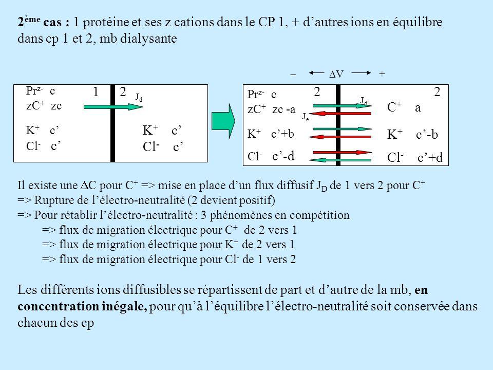 K + c Cl - c JdJd 12 2 ème cas : 1 protéine et ses z cations dans le CP 1, + dautres ions en équilibre dans cp 1 et 2, mb dialysante Il existe une C p