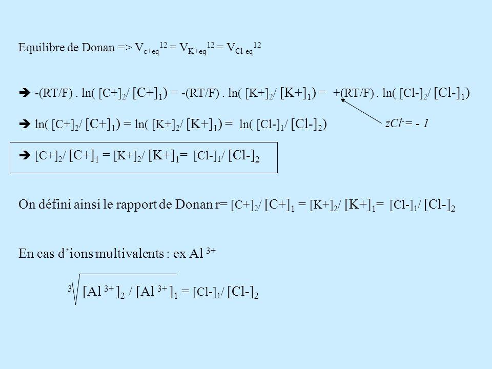 Equilibre de Donan => V c+eq 12 = V K+eq 12 = V Cl-eq 12 -(RT/F). ln( [C+] 2 / [C+] 1 ) = -(RT/F). ln( [K+] 2 / [K+] 1 ) = +(RT/F). ln( [Cl-] 2 / [Cl-