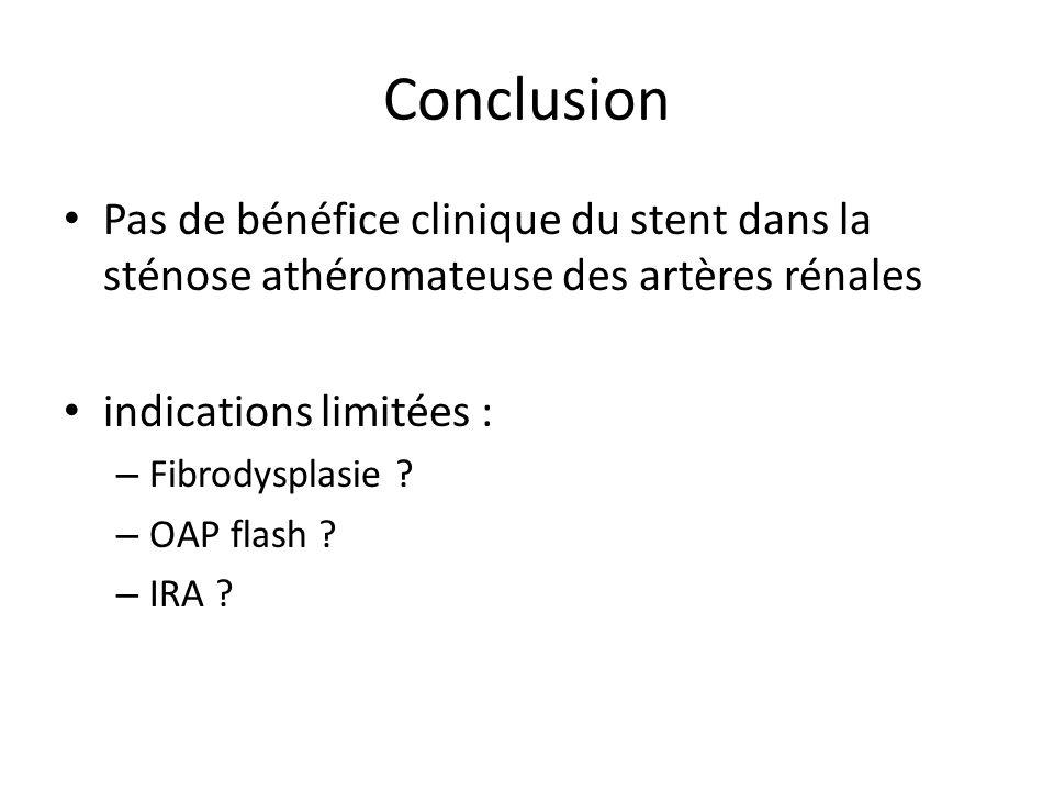 Conclusion Pas de bénéfice clinique du stent dans la sténose athéromateuse des artères rénales indications limitées : – Fibrodysplasie ? – OAP flash ?