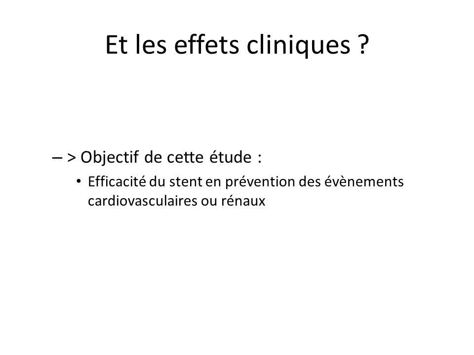 Et les effets cliniques ? – > Objectif de cette étude : Efficacité du stent en prévention des évènements cardiovasculaires ou rénaux