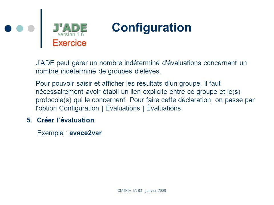 CMTICE IA-83 - janvier 2006 Configuration JADE peut gérer un nombre indéterminé d évaluations concernant un nombre indéterminé de groupes d élèves.