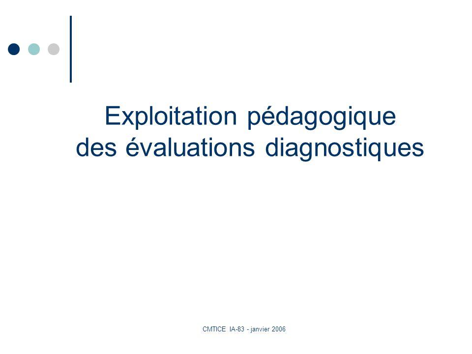 CMTICE IA-83 - janvier 2006 Exploitation pédagogique des évaluations diagnostiques