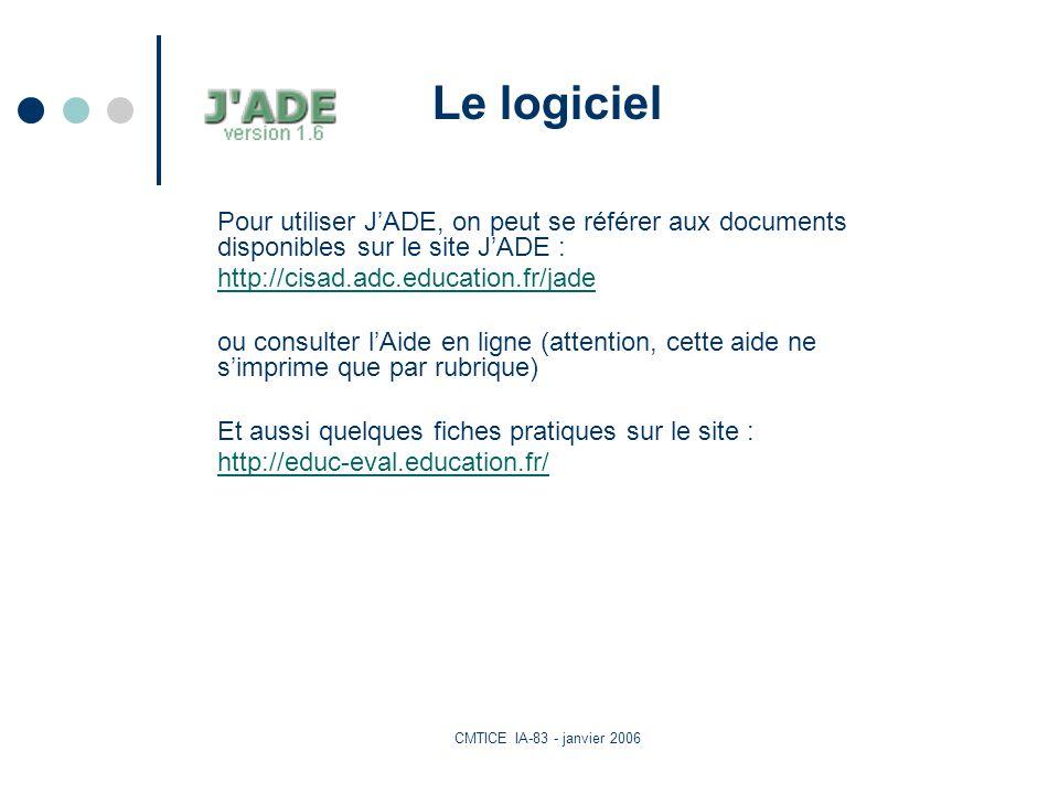 CMTICE IA-83 - janvier 2006 Le logiciel Pour utiliser JADE, on peut se référer aux documents disponibles sur le site JADE : http://cisad.adc.education.fr/jade ou consulter lAide en ligne (attention, cette aide ne simprime que par rubrique) Et aussi quelques fiches pratiques sur le site : http://educ-eval.education.fr/