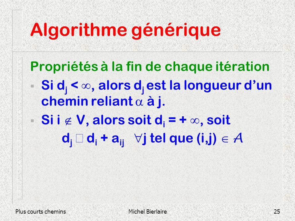 Plus courts cheminsMichel Bierlaire25 Algorithme générique Propriétés à la fin de chaque itération Si d j <, alors d j est la longueur dun chemin reliant à j.