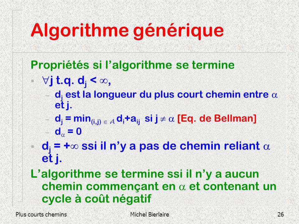Plus courts cheminsMichel Bierlaire26 Algorithme générique Propriétés si lalgorithme se termine j t.q. d j <, – d j est la longueur du plus court chem
