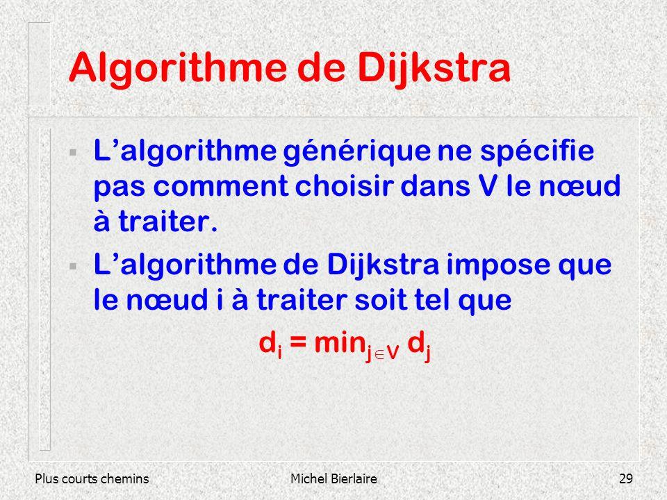 Plus courts cheminsMichel Bierlaire29 Algorithme de Dijkstra Lalgorithme générique ne spécifie pas comment choisir dans V le nœud à traiter. Lalgorith