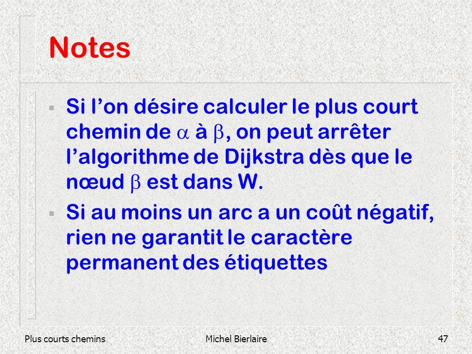 Plus courts cheminsMichel Bierlaire47 Notes Si lon désire calculer le plus court chemin de à, on peut arrêter lalgorithme de Dijkstra dès que le nœud est dans W.