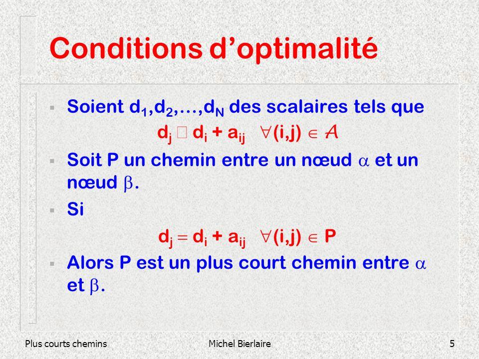Plus courts cheminsMichel Bierlaire5 Conditions doptimalité Soient d 1,d 2,…,d N des scalaires tels que d j d i + a ij (i,j) A Soit P un chemin entre