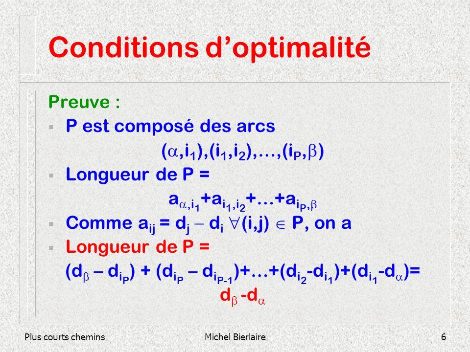 Plus courts cheminsMichel Bierlaire6 Conditions doptimalité Preuve : P est composé des arcs (,i 1 ),(i 1,i 2 ),…,(i P, ) Longueur de P = a,i 1 +a i 1,i 2 +…+a i P, Comme a ij = d j d i (i,j) P, on a Longueur de P = (d – d i P ) + (d i P – d i P-1 )+…+(d i 2 -d i 1 )+(d i 1 -d )= d -d