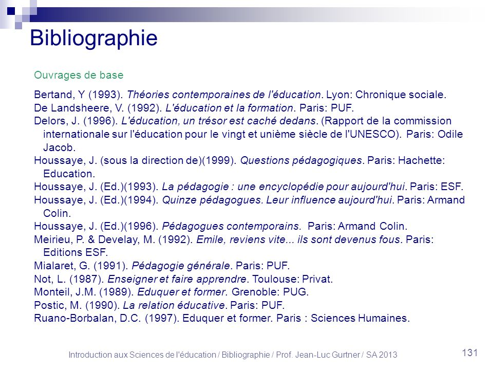 Introduction aux Sciences de l éducation / Bibliographie / Prof.