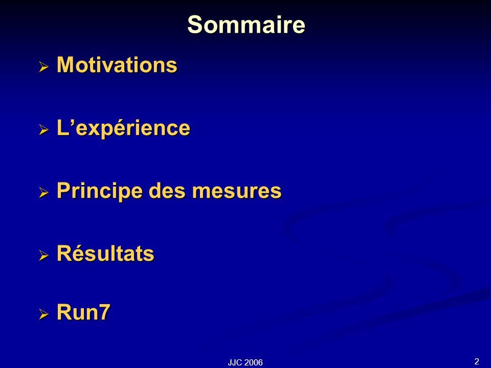 2 JJC 2006 Sommaire Motivations Motivations Lexpérience Lexpérience Principe des mesures Principe des mesures Résultats Résultats Run7 Run7