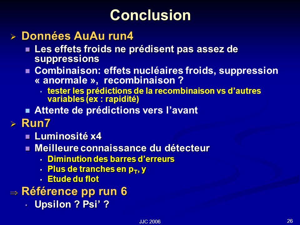 26 JJC 2006 Conclusion Données AuAu run4 Données AuAu run4 Les effets froids ne prédisent pas assez de suppressions Les effets froids ne prédisent pas assez de suppressions Combinaison: effets nucléaires froids, suppression « anormale », recombinaison .