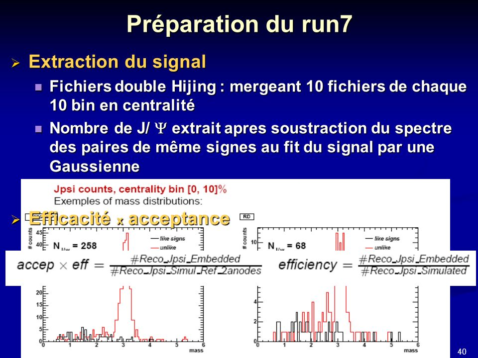 40 JJC 2006 Préparation du run7 Extraction du signal Extraction du signal Fichiers double Hijing : mergeant 10 fichiers de chaque 10 bin en centralité Fichiers double Hijing : mergeant 10 fichiers de chaque 10 bin en centralité Nombre de J/ extrait apres soustraction du spectre des paires de même signes au fit du signal par une Gaussienne Nombre de J/ extrait apres soustraction du spectre des paires de même signes au fit du signal par une Gaussienne Efficacité x acceptance Efficacité x acceptance