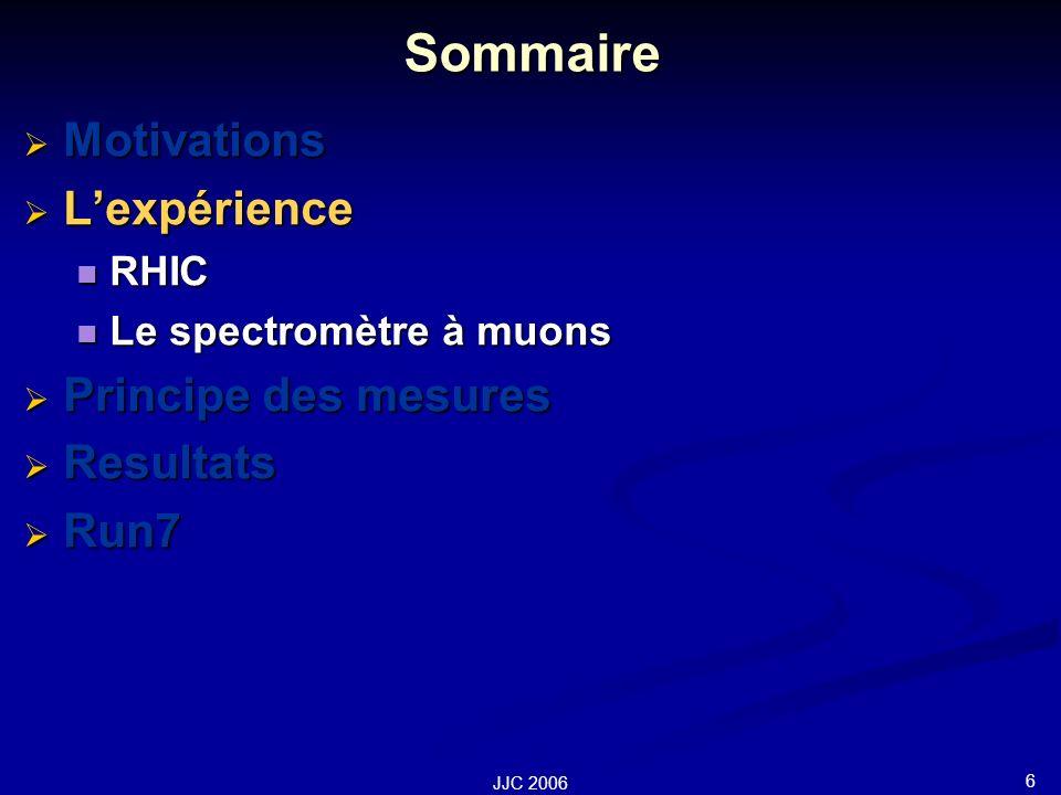 6 JJC 2006 Sommaire Motivations Motivations Lexpérience Lexpérience RHIC RHIC Le spectromètre à muons Le spectromètre à muons Principe des mesures Principe des mesures Resultats Resultats Run7 Run7