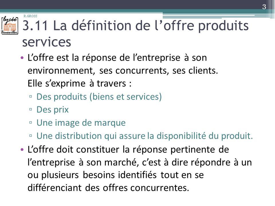 3.11 La définition de loffre produits services Loffre est la réponse de lentreprise à son environnement, ses concurrents, ses clients.