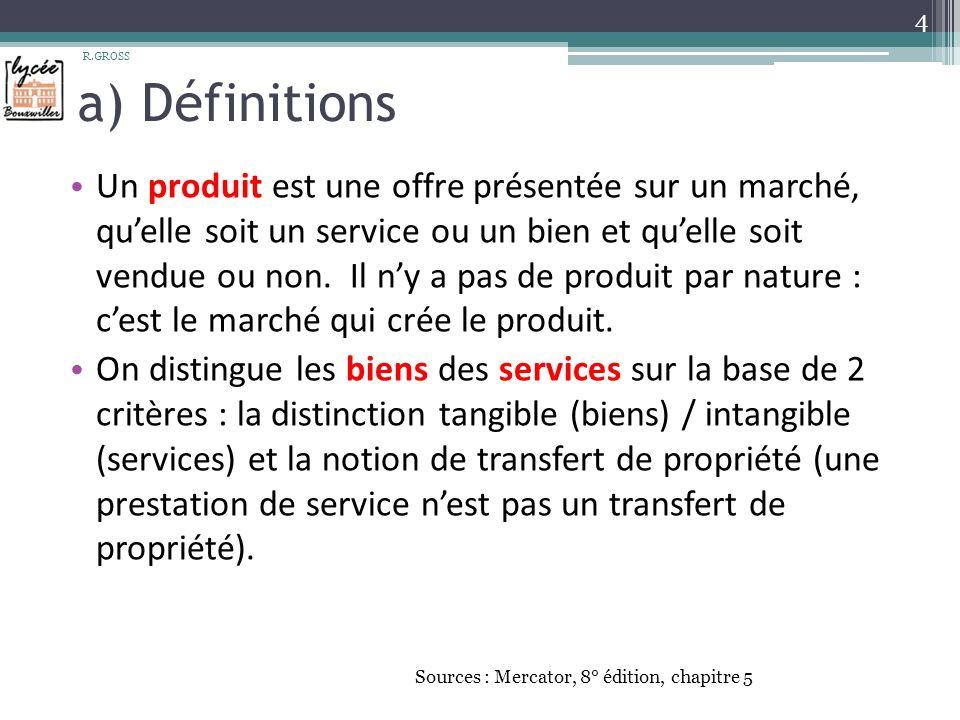 a) Définitions Un produit est une offre présentée sur un marché, quelle soit un service ou un bien et quelle soit vendue ou non.