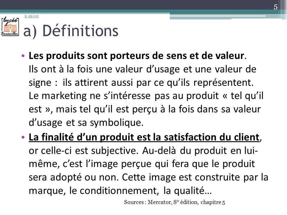 a) Définitions Les produits sont porteurs de sens et de valeur.