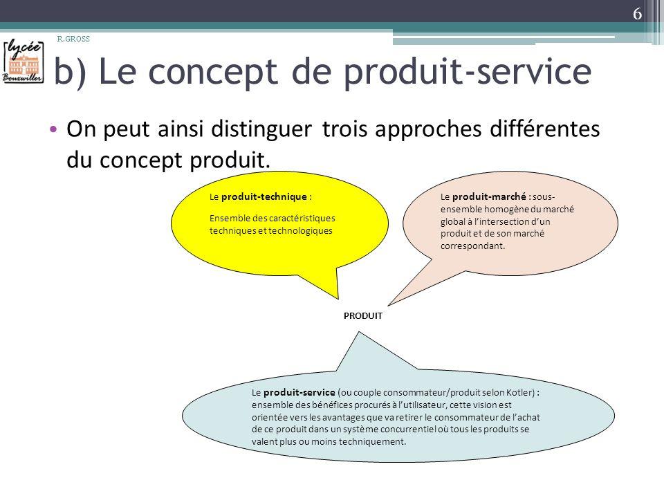 b) Le concept de produit-service On peut ainsi distinguer trois approches différentes du concept produit.