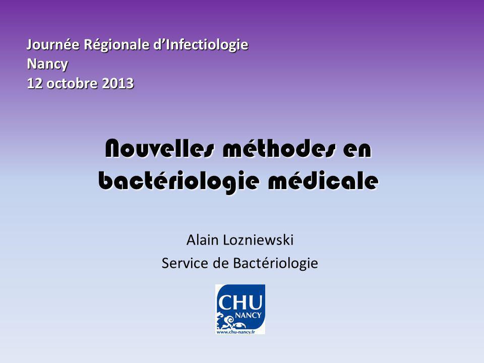 Nouvelles méthodes en bactériologie médicale Alain Lozniewski Service de Bactériologie Journée Régionale dInfectiologie Nancy 12 octobre 2013