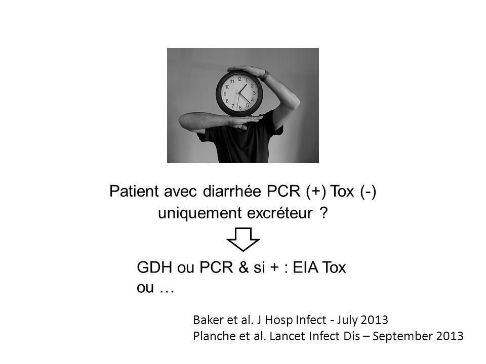 Patient avec diarrhée PCR (+) Tox (-) uniquement excréteur ? GDH ou PCR & si + : EIA Tox ou … Baker et al. J Hosp Infect - July 2013 Planche et al. La