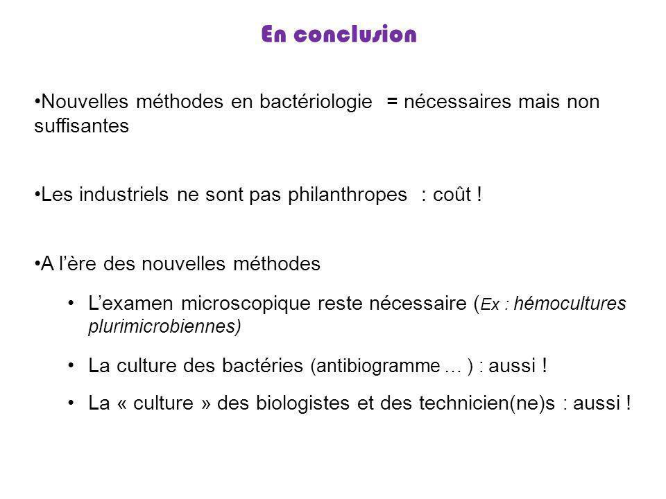 En conclusion Nouvelles méthodes en bactériologie = nécessaires mais non suffisantes Les industriels ne sont pas philanthropes : coût ! A lère des nou