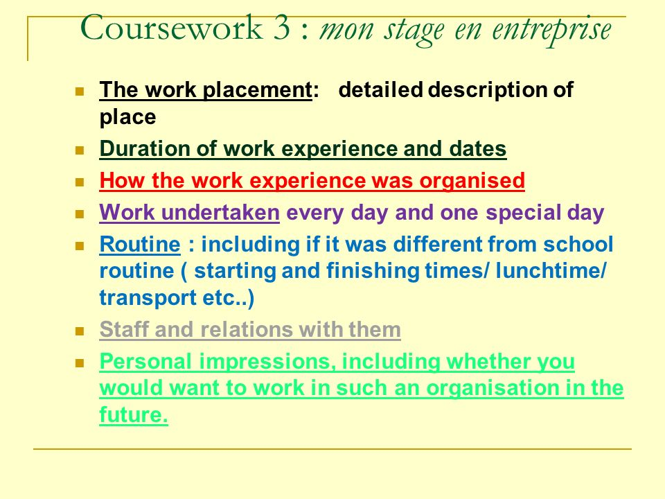 french coursework work experience