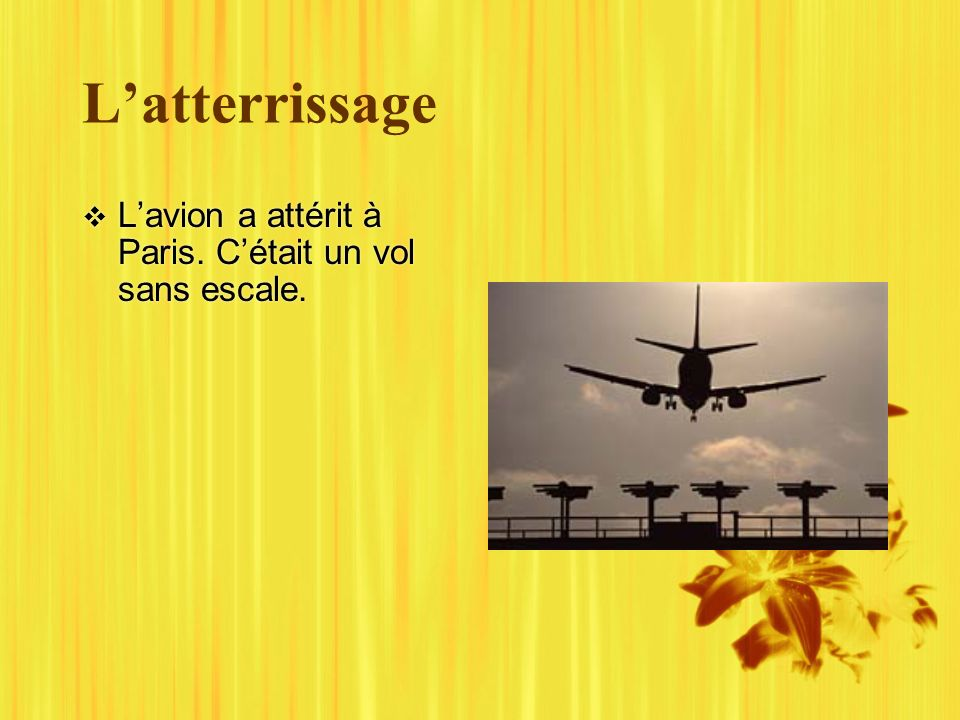 Latterrissage Lavion a attérit à Paris. Cétait un vol sans escale.