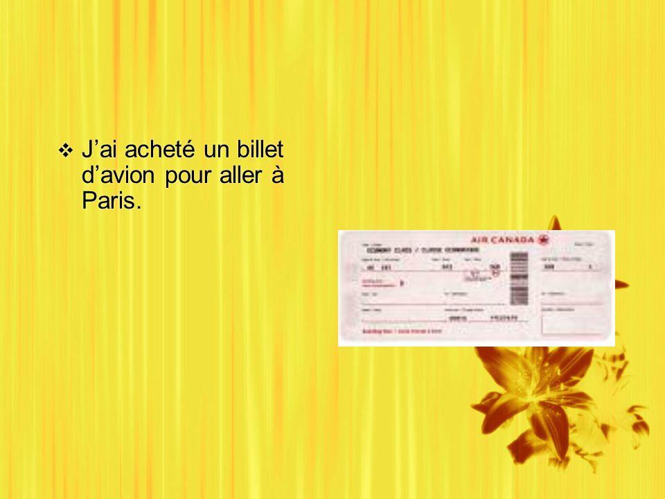 Jai acheté un billet davion pour aller à Paris.
