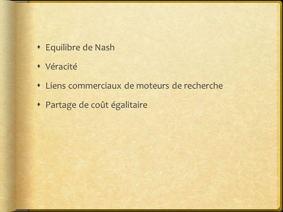 Equilibre de Nash Véracité Liens commerciaux de moteurs de recherche Partage de coût égalitaire