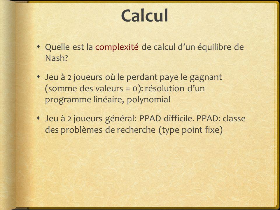 Calcul Quelle est la complexité de calcul dun équilibre de Nash.