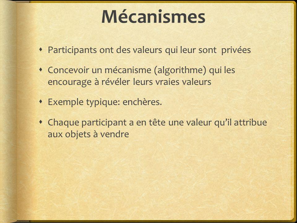 Mécanismes Participants ont des valeurs qui leur sont privées Concevoir un mécanisme (algorithme) qui les encourage à révéler leurs vraies valeurs Exemple typique: enchères.