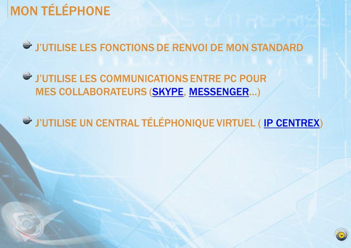 MON TÉLÉPHONE JUTILISE LES FONCTIONS DE RENVOI DE MON STANDARD JUTILISE LES COMMUNICATIONS ENTRE PC POUR MES COLLABORATEURS (SKYPE, MESSENGER…)SKYPEMESSENGER JUTILISE UN CENTRAL TÉLÉPHONIQUE VIRTUEL ( IP CENTREX)IP CENTREX
