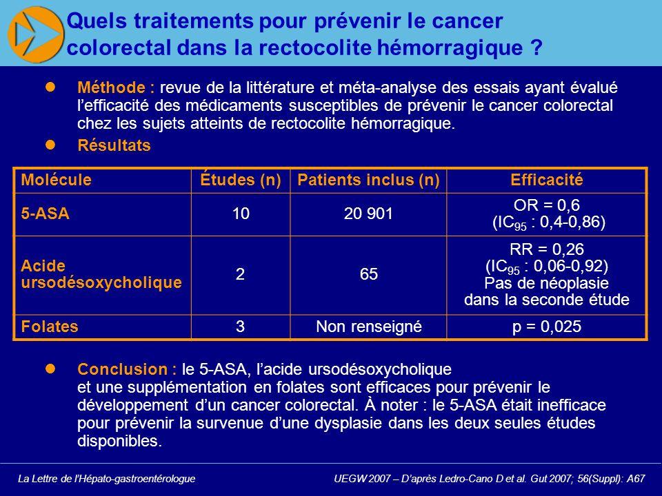 La Lettre de lHépato-gastroentérologueUEGW 2007 – Daprès Ledro-Cano D et al.