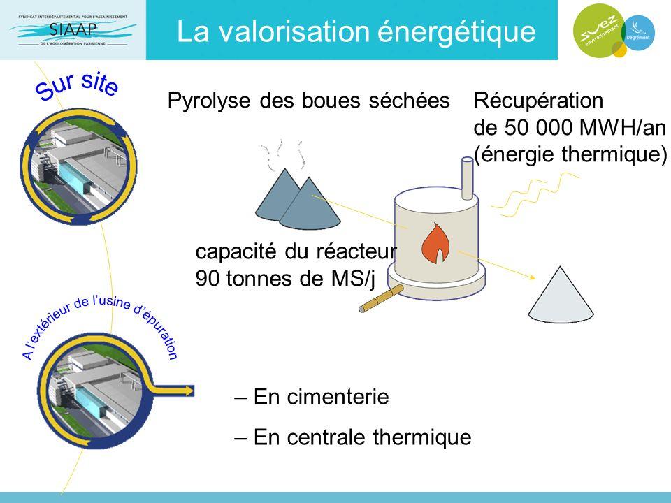– En cimenterie – En centrale thermique Récupération de 50 000 MWH/an (énergie thermique) Pyrolyse des boues séchées capacité du réacteur 90 tonnes de