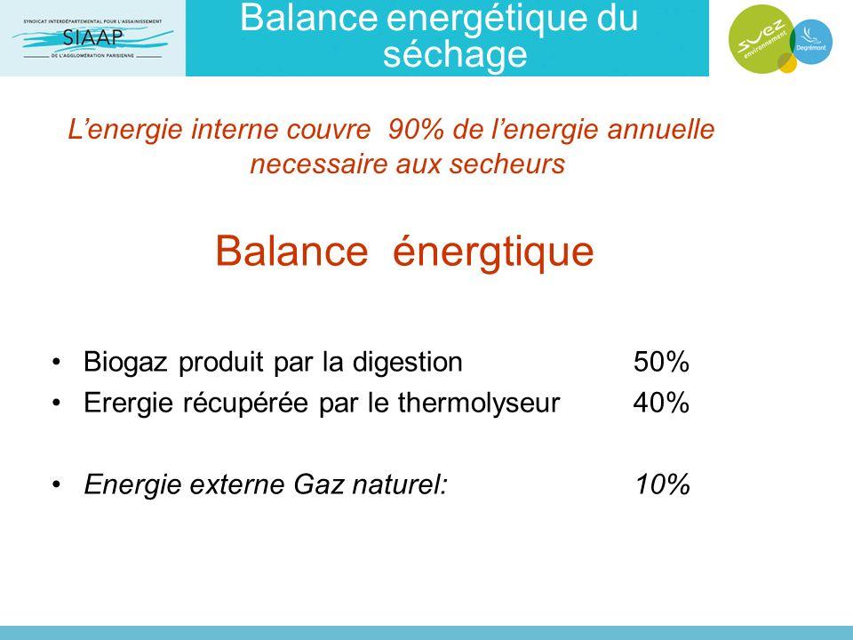 Balance energétique du séchage Balance énergtique Biogaz produit par la digestion 50% Erergie récupérée par le thermolyseur 40% Energie externe Gaz na