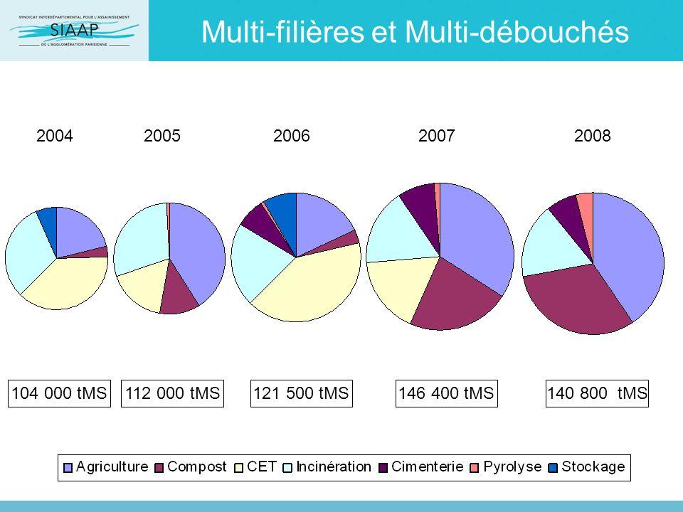 Multi-filières et Multi-débouchés 2004200520062007 104 000 tMS112 000 tMS121 500 tMS146 400 tMS140 800 tMS 2008