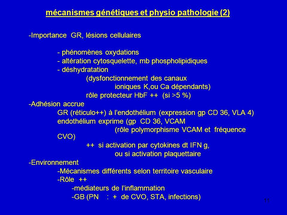 11 mécanismes génétiques et physio pathologie (2) -Importance GR, lésions cellulaires - phénomènes oxydations - altération cytosquelette, mb phospholi