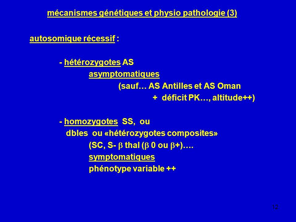 12 mécanismes génétiques et physio pathologie (3) autosomique récessif : - hétérozygotes AS asymptomatiques (sauf… AS Antilles et AS Oman + déficit PK