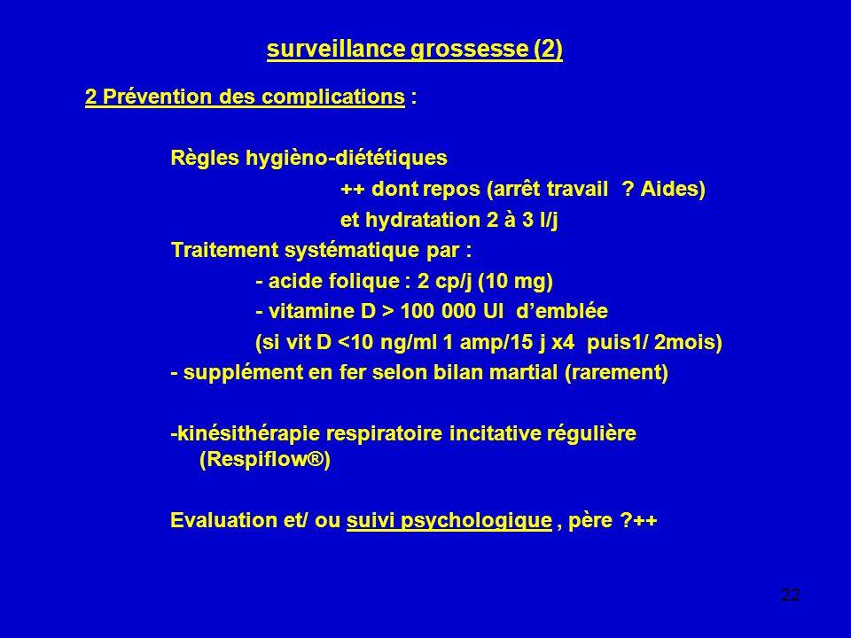 22 surveillance grossesse (2) 2 Prévention des complications : Règles hygièno-diététiques ++ dont repos (arrêt travail ? Aides) et hydratation 2 à 3 l