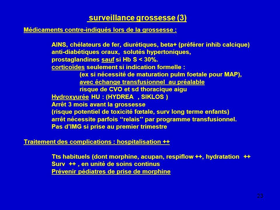 23 surveillance grossesse (3) Médicaments contre-indiqués lors de la grossesse : AINS, chélateurs de fer, diurétiques, beta+ (préférer inhib calcique)