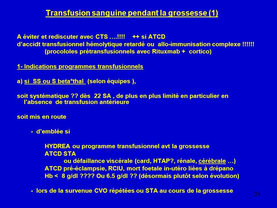 24 Transfusion sanguine pendant la grossesse (1) A éviter et rediscuter avec CTS ….!!!! ++ si ATCD daccidt transfusionnel hémolytique retardé ou allo-