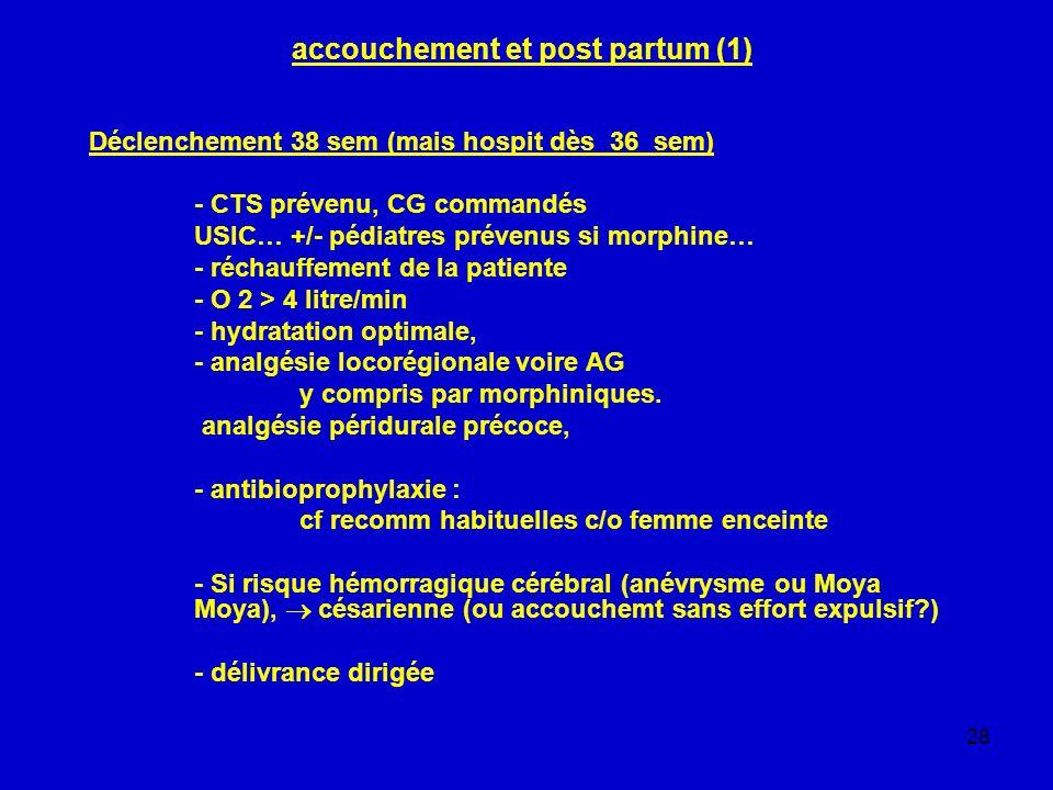 28 accouchement et post partum (1) Déclenchement 38 sem (mais hospit dès 36 sem) - CTS prévenu, CG commandés USIC… +/- pédiatres prévenus si morphine…