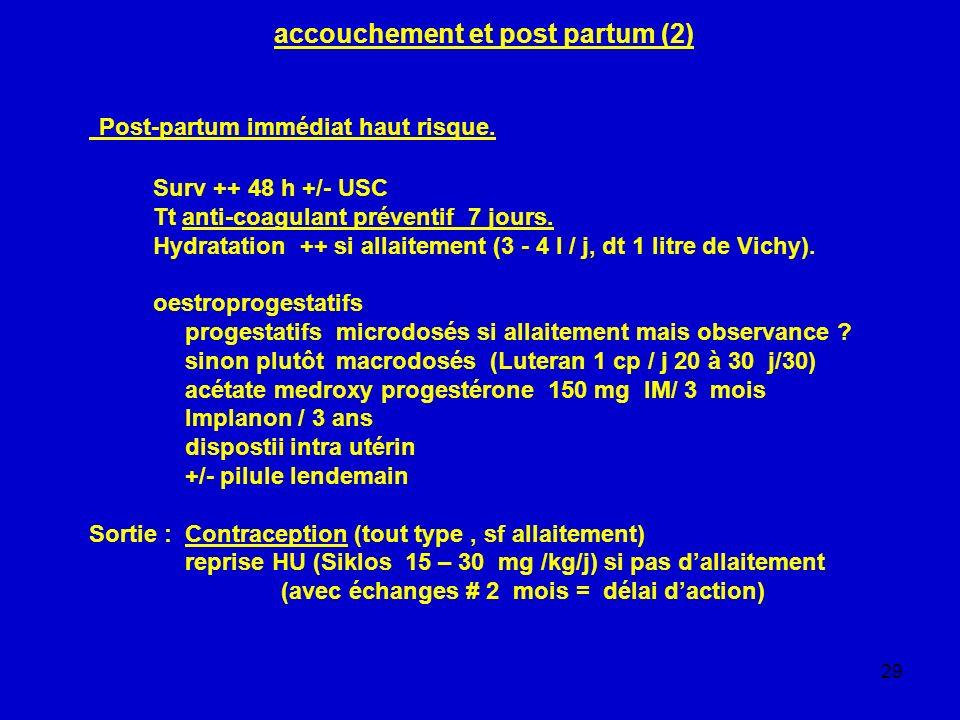 29 accouchement et post partum (2) Post-partum immédiat haut risque. Surv ++ 48 h +/- USC Tt anti-coagulant préventif 7 jours. Hydratation ++ si allai
